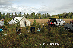 Setting up a comfortable and safe hunting camp is first priority.